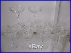 10 coupes champagne cristal Saint Louis Chantilly crystal champagne cups