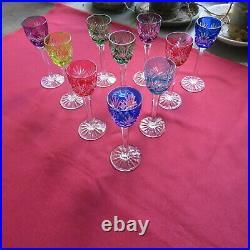 10 verres à liqueur en cristal taillé de lorraine saint louis modèle chantilly