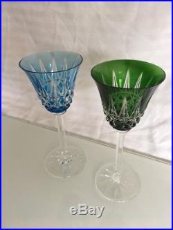 10 verres cristal doublé SAINT LOUIS Tarn / Antique overlay crystal glasses