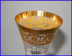 2 Flutes A Champagne Signees En Cristal De Saint Louis Modele Thistle Gold