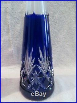 2 carafes à vin cristal bleu & rubis saint louis Massenet crystal wine decanters
