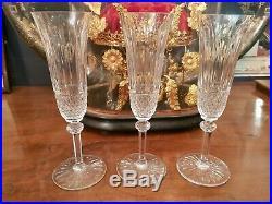 3 Flûtes à Champagne cristal de Saint Louis modèle Tommy 20,5cm