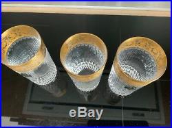 3 VERRES A ORANGEADE SAINT LOUIS MODELE THISTLE OR PARFAIT ETAT HT 14 cm