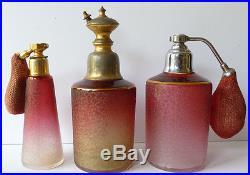3 flacons vaporisateurs à parfum en cristal de Saint LOUIS vers 1920