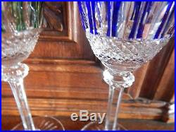 3 verres en cristal taillé de Saint Louis modèle Tommy. H. Vert rouge bleu