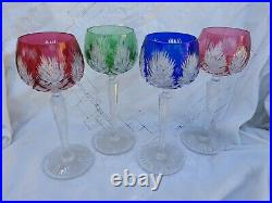 4 Verres A Vin Cristal De COULEUR SAINT LOUIS ROEMER tb état signés