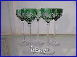 5 Verres à vin cristal overlay vert saint louis (crystal wine glasses)