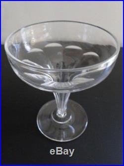 5 coupes à champagne en cristal dite Champenoise 19e siecle Baccarat, St Louis