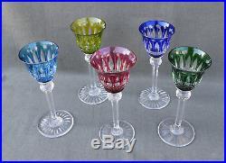 5 verres à liqueur couleur en cristal taillé Saint-Louis modèle Tommy estampillé