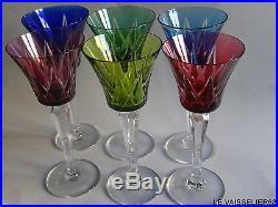 6 anciens verres a vin du rhn cristal double colore de saint louis serie ardeche verres. Black Bedroom Furniture Sets. Home Design Ideas