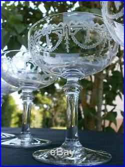 6 Anciennes Coupes A Champagne Cristal St Louis Modele Millet Catalogue 1930