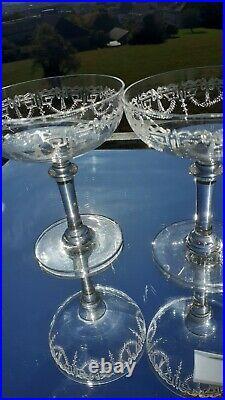 6 Coupes À Champagne Cristal Gravé Baccarat St Louis Bayel Decor Louis XVI