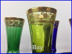 6 Flûtes À Champagne En Couleurs Signées Saint Louis Modèle Thistle Or