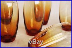 6 Gobelets en cristal de Saint Louis modèle Fanfare Uni coloris ambre