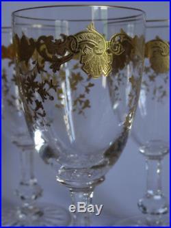 6 VERRES A VIN ROUGE BORDEAUX CRISTAL SAINT LOUIS MODELE MASSENET GOLD ht 14,5