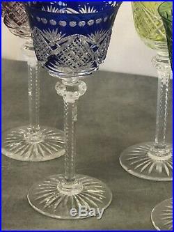 6 Verre à vin du Rhin Signé Saint Louis double de couleur modèle roemer H 19,8