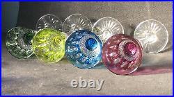 6 Verres À Liqueur Saké Cristal Taillé Overlay Saint Louis Modèle Tommy
