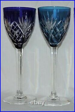 6 Verres A Pied En Cristal De St Louis Chantilly Couleur
