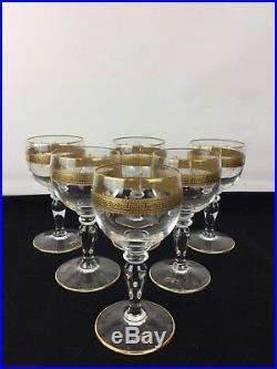 6 Verres À Vin En Cristal De Saint Louis Dorés À L'or Fin