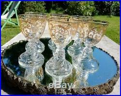 6 Verres Cristal Saint Louis Modèle Cluny Hauteur 9,8 cm