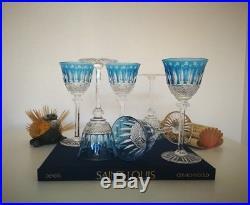 6 Verres Roemer, verre à vin du Rhin. Tommy cristal Saint Louis. Couleur Bleu ciel