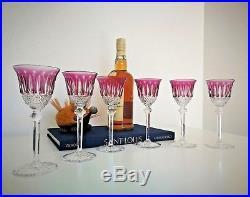 6 Verres Tommy cristal Saint Louis. Verres de couleur Améthyste, Overlay