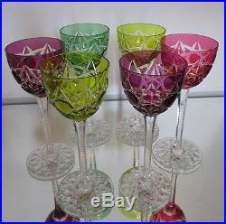 6 verres vin du rhin anciens cristal overlay roemer saint louis baccarat verres cristal st louis. Black Bedroom Furniture Sets. Home Design Ideas