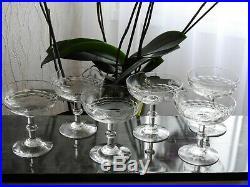 6 anciens verres à vin de champagne coupes cristal gravé de Baccarat St Louis