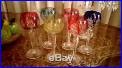 6 anciens verres cristal Saint louis couleur