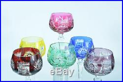6 beaux verres à vin cristal double taillé couleur Bohème St Louis étoiles Glass