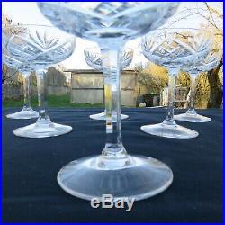 6 coupes a champagne en cristal saint louis modèle chantilly signé