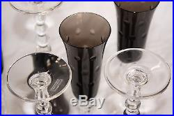 6 flûtes à champagne en cristal de Saint Louis Bubbles gris flanelle