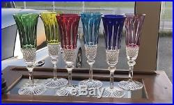 6 flûtes à champagne en cristal de St Louis modèle Tommy colorées H20,8 Cm