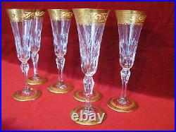 6 flûtes à champagne en cristal taillé de Saint Louis modèle Stella or TBE