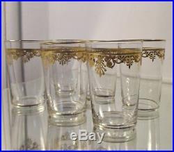 6 verre gobelet cristal gravé, doré palmettes Empire, Baccarat ou Saint Louis