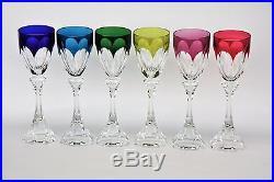 6 verres Roemer en cristal de couleur Saint Louis Chambord