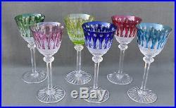 6 verres à eau de couleur en cristal taillé Saint-Louis modèle Tommy estampillé