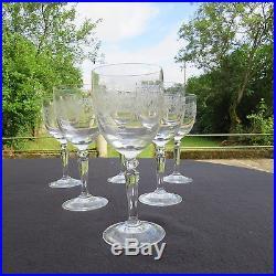 6 verres à eau en cristal de saint louis service Stella gravé catal 1930 lot 1