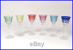 6 verres à vin blanc cristal taillé Saint-Louis modèle Tommy couleurs XXè