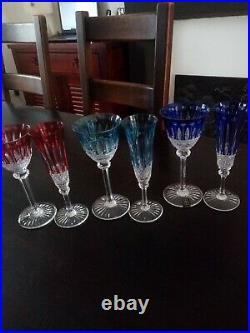 6 verres à vin couleur modèle Tommy en cristal de Saint Louis (prix à la pièce)