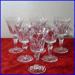 6 verres à vin rouge en cristal de Saint Louis signé modèle Camargue