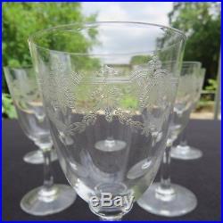 6 verres à vin rouge en cristal de saint louis modèle Manon gravé