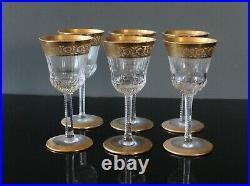6 verres en cristal de saint louis Modèle thisle signés H 13 cm