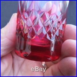6 verres gobelet à thé en cristal de couleur st louis baccarat val st lambert
