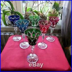 6 verres roemer de couleur en cristal de saint louis modèle Camargue
