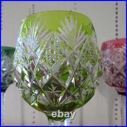 6 verres roemer de couleur en cristal de saint louis modèle florence H 24 cm
