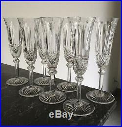 7 Magnifiques Verres Flûtes Champagne En Cristal De Saint-Louis Tommy 20,3 Cm