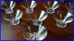 8 Coupes champagne en cristal Saint Louis, modèle Diamant, estampillés