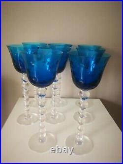 8 verres Cristal bubble Romer Bleu Saint Louis
