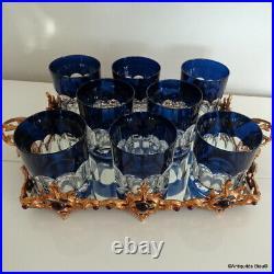 8 verres à Whisky bleu St Louis Cristal parfait état avec plateau